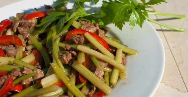 Delicious sauteed beef with Chinese Celery from garden