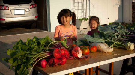 The joy of sharing vegetables
